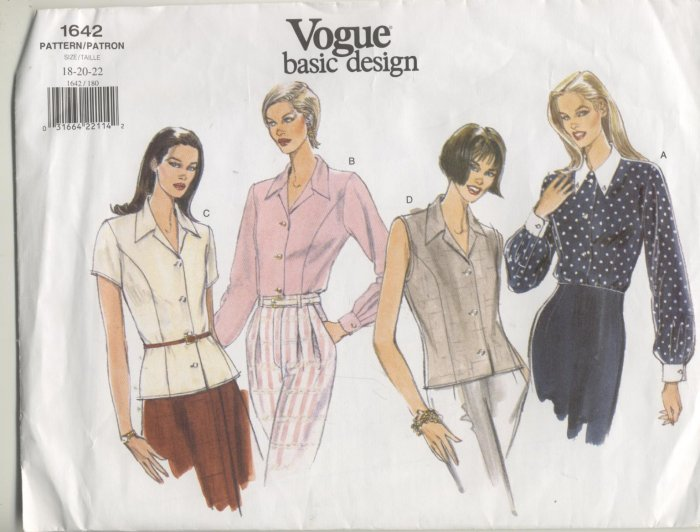Vogue Basic Design Sewing Pattern 4 Blouses #1642 Sizes 18-20-22