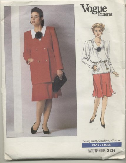 Vogue Sewing Pattern 2126 Jacket, Blouse & Skirt Womens Plus Sizes 26-28-30
