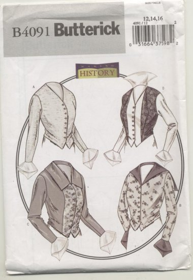 Butterick Costume Pattern 4091 Women's Blouses Sizes 12-16