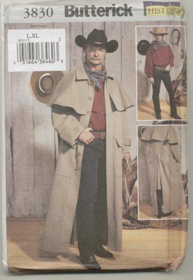 Men's Western Duster Coat Butterick Sewing Pattern 3830  L-XL