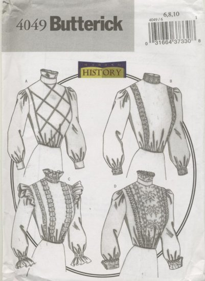 Butterick Pattern 4049 Making History Women's Blouses Sizes 6-10