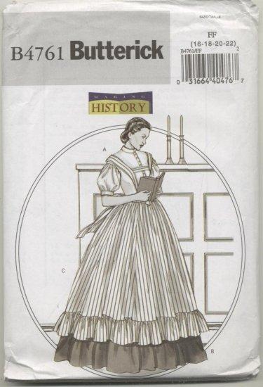 Butterick Pattern 4761 Making History Women's Blouse,Skirt, Pinafore Sizes 16-22