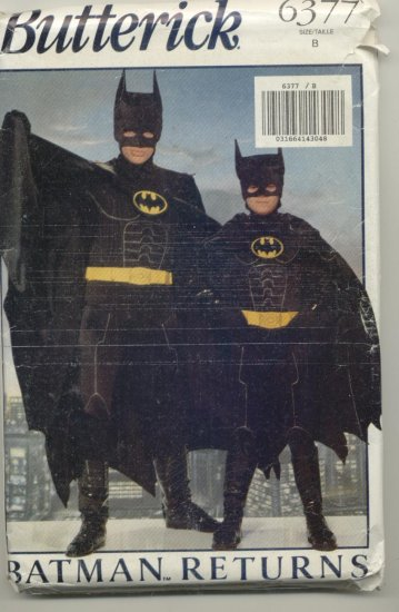 Butterick Costume Pattern 6377 Batman Boys Sizes S-L