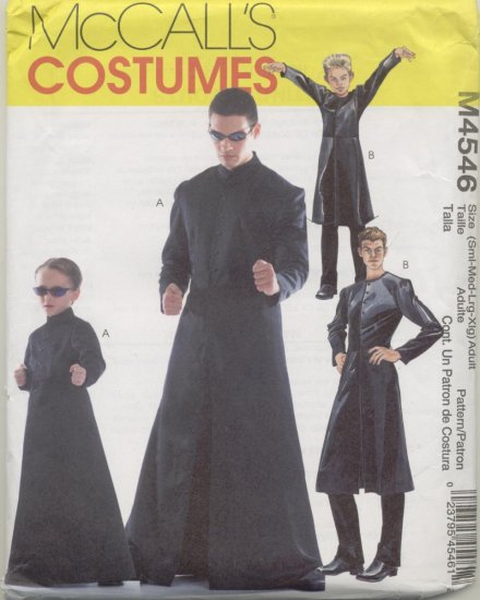 McCall's Costume Pattern 4546 The Matrix Adult  Sizes Sm-XLG
