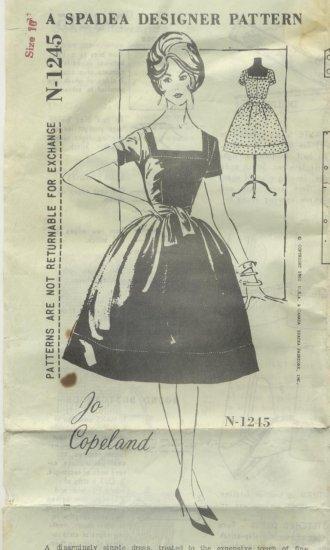 Jo Copeland Dress with Sashed Waist 1961 Spadea Sewing Pattern N 1245