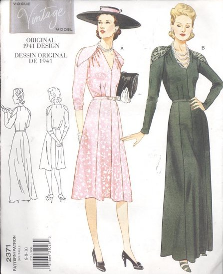 Vogue Vintage Original 1941 Design Dress & Gown Sewing Pattern 2371