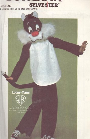 Sylvester the Cat Costume Pattern Butterick 6349 Child's Sizes 2-12  Looney Tunes