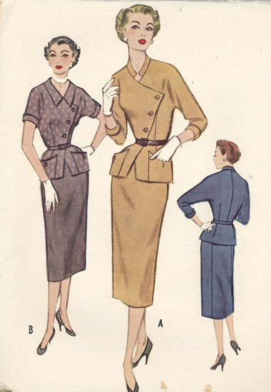 Vintage 2 Piece Dress Pattern 1953 McCall's Sewing Pattern #9305 Pencil Skirt with Peplum Jacket