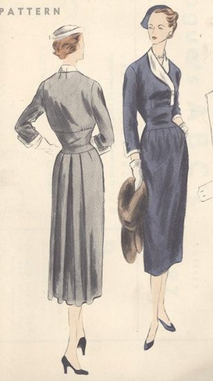 Vintage Dress with Bias Midriff and Vest 1952 Vogue Sewing Pattern #7797