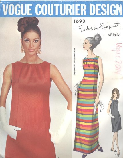 Federico Forquet 1967 Vogue Couturier Design Sewing Pattern 1693 Vintage Sewing Pattern