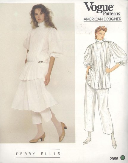 Perry Ellis Vogue American Designer 2955  Sewing Pattern Top, Skirt and Capri Pants Size 10