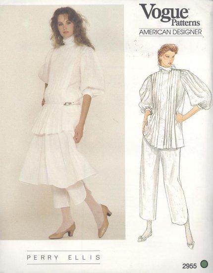 Perry Ellis Vogue American Designer 2955  Sewing Pattern Top, Skirt and Capri Pants Size 10