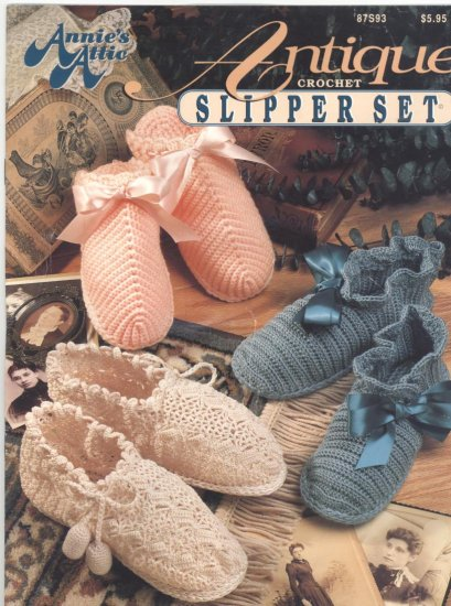 Annie's Attic Antique Crochet Slipper Set  Pattern Book