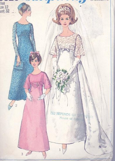Vintage Wedding Gown and Bridesmaid Dress 1966 Simplicity Sewing Pattern 6825