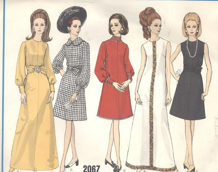 Vogue A Line Dress Sewing Pattern #2067 Vintage 1960's