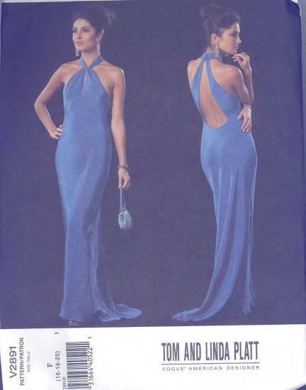 Vogue American Designer Bias Evening Gown Tom & Linda Platt Sewing Pattern #2891 Sizes 16-18-20