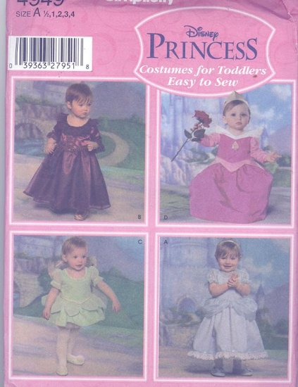 Disney Princess Cinderella, Tinkerbell, Sleeping Beauty Costume Sewing Pattern Simplicity 4949