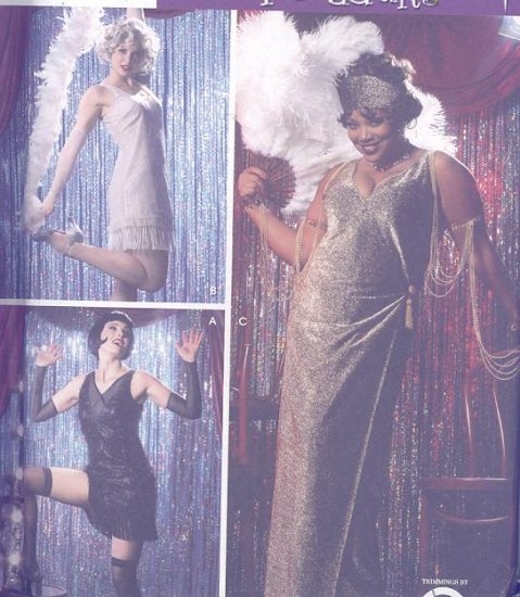 Chicago Roxie Hart, Velma Kelly,Mama Adult Costume Sewing Pattern Simplicity 5400 Flapper Costumes