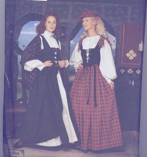 Simplicity Costume Pattern 8855 Andrea Schewe Celtic Dress,Hat, Shawl Sizes 14-20