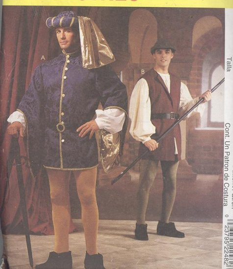 Men's Renaissance Costume and Hats Sewing Pattern McCall's 2248