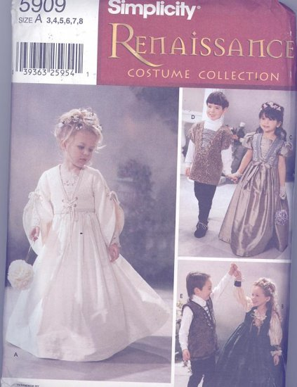 Jana Beus Children's Renaissance Costume Sewing Pattern Simplicity 5909
