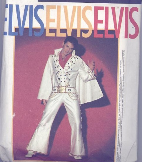Elvis Adult Costume Sewing Pattern Simplicity 8651 White Jumpsuit, Cape