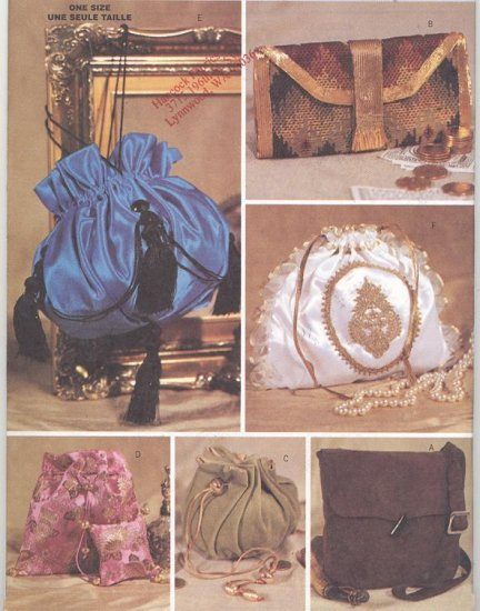Women's Historic Handbags, Purses Butterick Sewing Pattern 3485 Making History