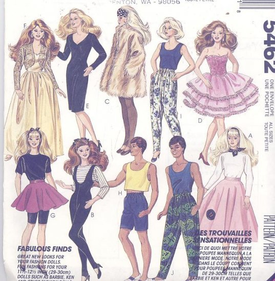 Barbie Clothes Costume Sewing Pattern Mccall S 5462