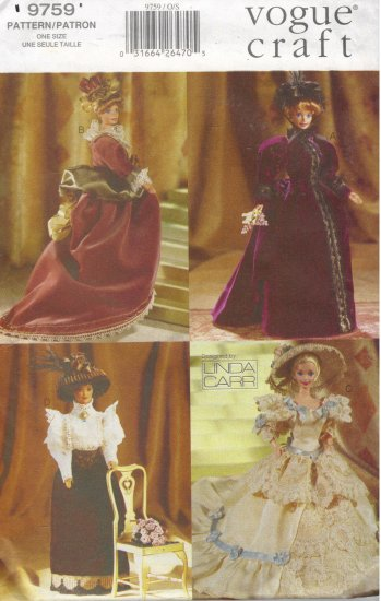 Period Costumes for Barbie Vogue 9759 Sewing Pattern by Linda Carr