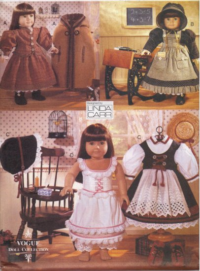 Early American Outfits for American Girl Dolls Vogue 9641 Sewing Pattern by Linda Carr