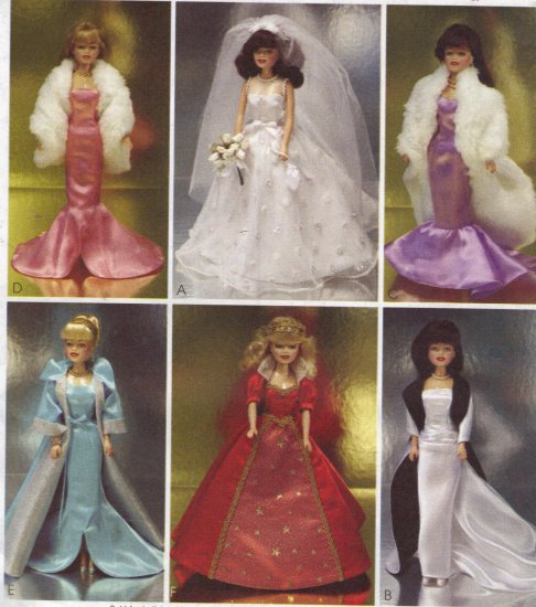 Evening and Wedding Gowns for Barbie McCalls 3138 Sewing Pattern