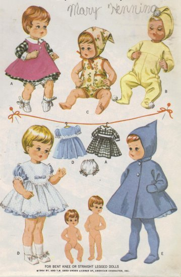 "Vintage Doll Clothes Sewing Pattern McCalls 7592 Sewing Pattern 9"" Dolls"