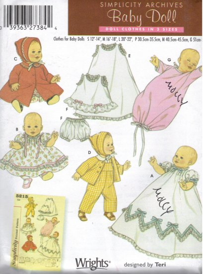 "Wardrobe for Baby Dolls 12""-22"" Simplicity Archives 5215 Sewing Pattern"