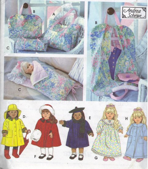 American Girl Doll Clothes, Tote, Sleeping Bag Simplicity 9833 Sewing Pattern by Andrea Schewe