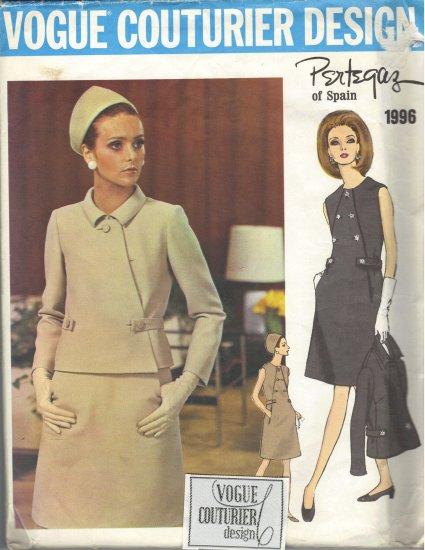 Vintage Vogue Couturier Design Pertegaz 1960s Sewing Pattern Dress and Jacket  Vogue 1996