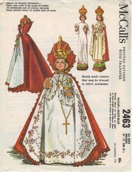 Infant of Prague Vestments McCall's 2463 Vintage 1961 Sewing Pattern