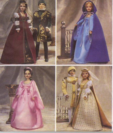 barbie medieval costumes mccalls 3628 sewing pattern