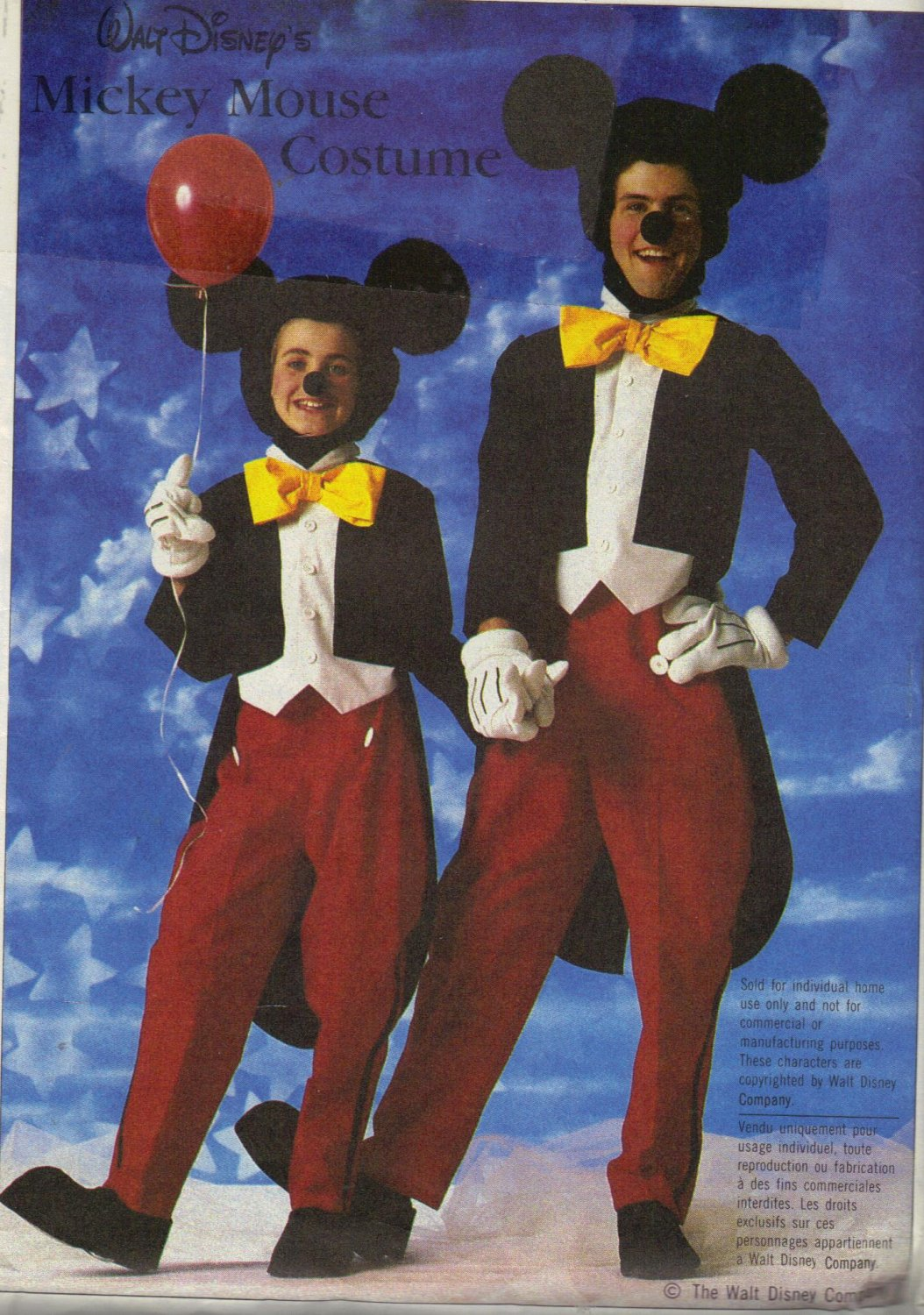 Disney Mickey Mouse Costume Pattern Simplicity 7729 Boys 2-4