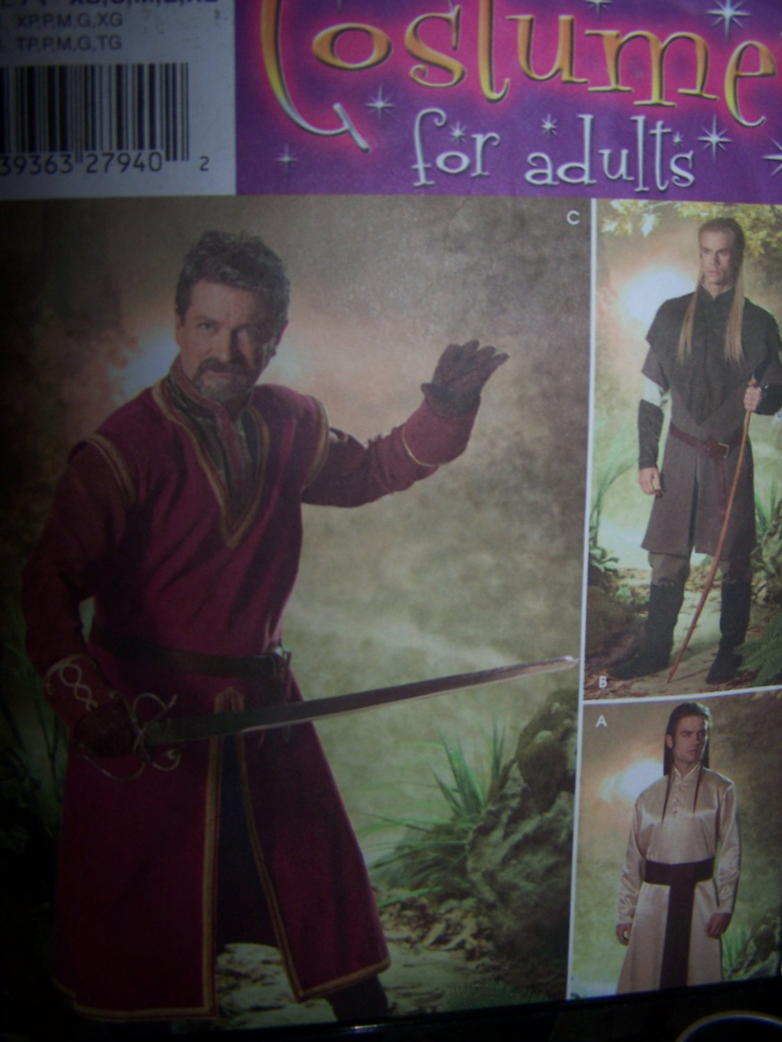 Lord of the Rings Costume Sewing Pattern Simplicity 4942 Adult XSm-XL