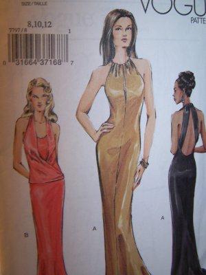 Vogue 7797 Evening Gown Bias Cut Halter Top Sewing Pattern