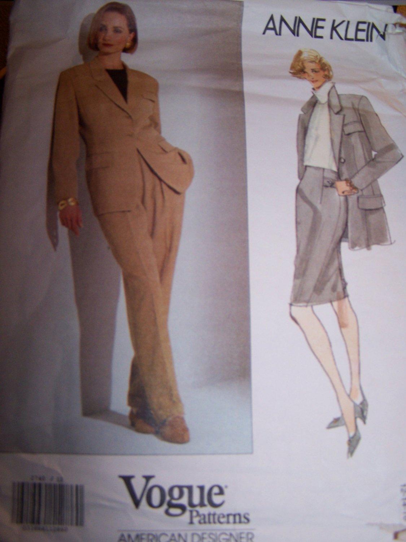Anne Klein Jacket, Skirt, Pants Vogue Sewing Pattern 2740