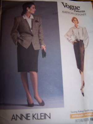 Anne Klein Jacket, Skirt, Blouse Vogue Sewing Pattern 1931