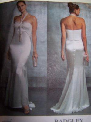 Badgley Mischka Vogue Sewing Pattern 2838 Evening Dress Gown Flared Skirt Sizes 12-16
