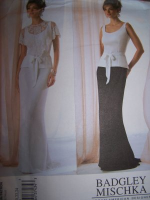 Badgley Mischka Vogue Sewing Pattern 2776 Evening Capelet Top and Skirt Sizes 8-12