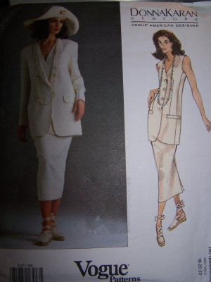 Donna Karan Vogue Sewing Pattern 1165 Jacket, Vest, Skirt Sizes 18-22