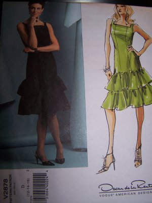 Oscar de la Renta Dress Vogue Sewing Pattern 2878 sizes 12-16
