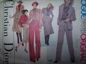 Vogue Paris Original Christian Dior Sewing Pattern 1760 Jacket, Blouse, Pants & Skirt  Size 12
