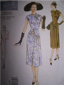 Vogue Original 1948 Design Sewing Pattern 2787  A line Dress with Shaped Bodice