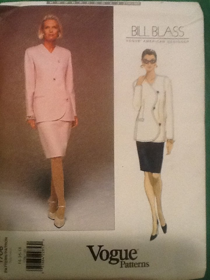 Vogue Designer Bill Blass Sewing Pattern 1706 Skirt Jacket 12-16