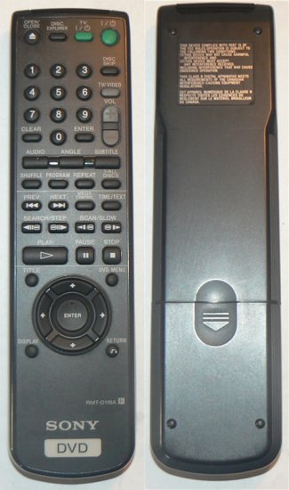 Sony RMT-D119A DVD Remote Control, Excellent Condition